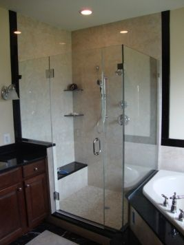 Master Bathroom Knee Wall corner-shower-frameless-knee-wall-tub-deck-chrome-bench-seat