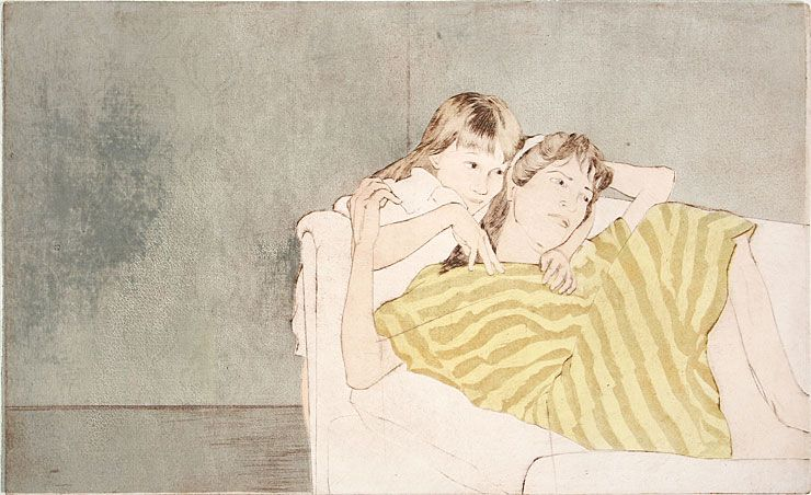 Ellen Heck. Child and Mother, 2009. Woodcut, drypoint and aquatint. Edition of 3. 11 x 18 inches. $800