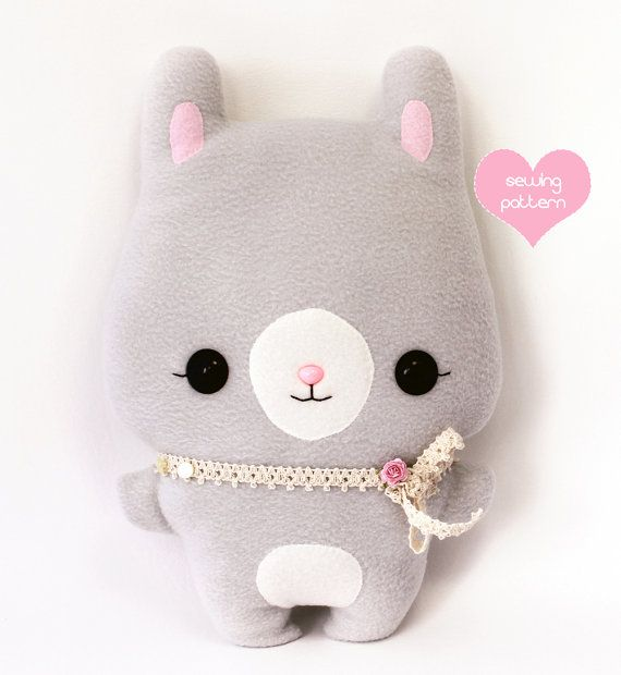 PDF sewing pattern - Bunny Rabbit stuffed animal - easy beginner DIY ...