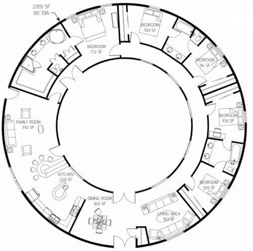 It Consists Of 5 Bedrooms The House Is Single Floor And The Structural System Can Be Easily Designed By A Local E Round House Plans Octagon House Round House