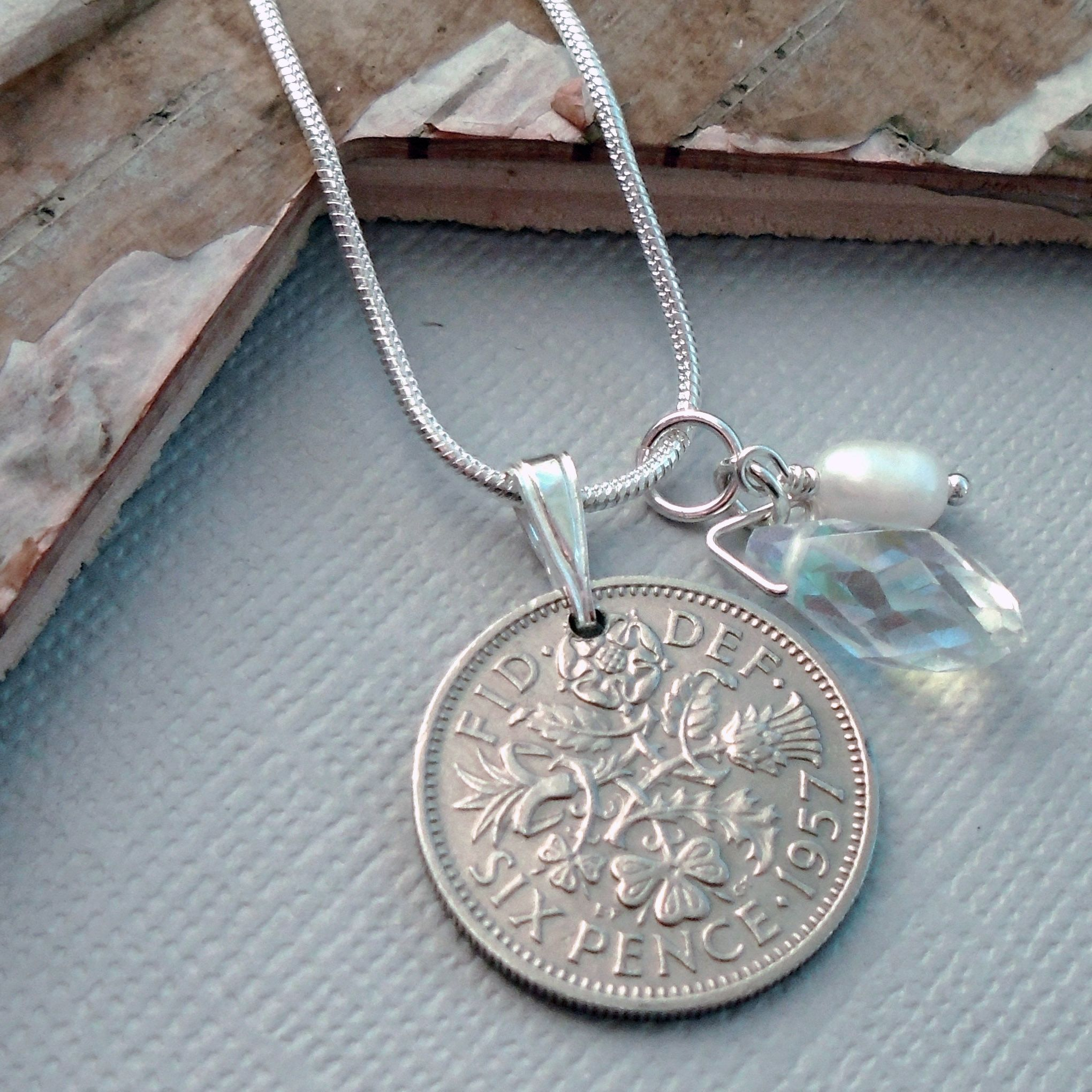 60th birthday gift 1957 lucky sixpence necklace with