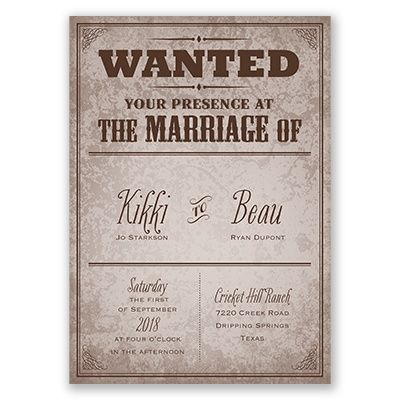 Western Themed Wedding Invitation WANTED Poster Style So Cute For A Country Loving Couple Annsbridalbargains Affordable