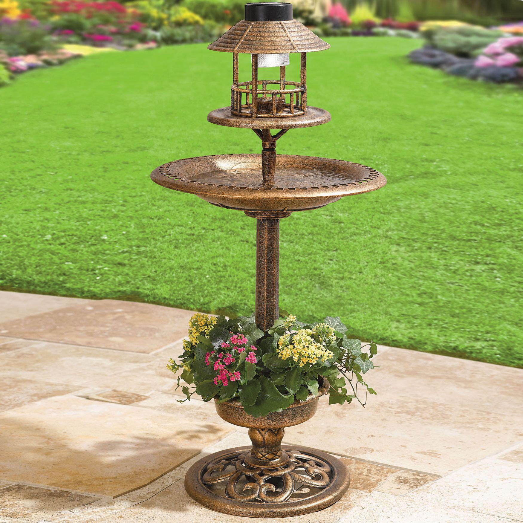 Solar Bird Bath | Decor U0026 Garden | Brylanehome