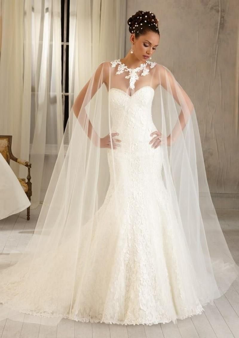 18daf96493e6 Sweetheart Strapless Mermaid Wedding Dress With Cape from DHGate ...