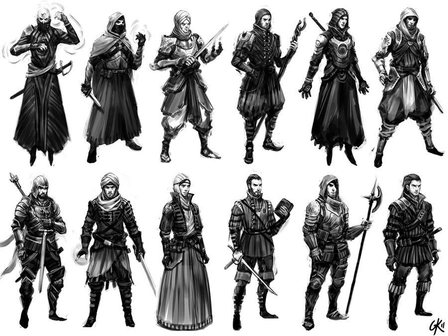 Character Design Thumbnails : Battle mage character thumbnails by gillesketting on