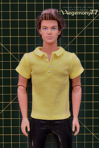 dacd4443a5125 Ken doll in custom made 1/ 6 scale polo shirt with 4 buttons and ...