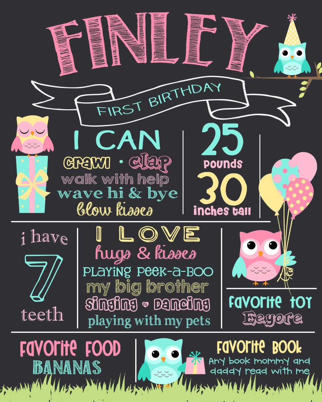 Owl Baby Girl First Birthday Milestone Board Chalkboard Print Personalised Party Printable