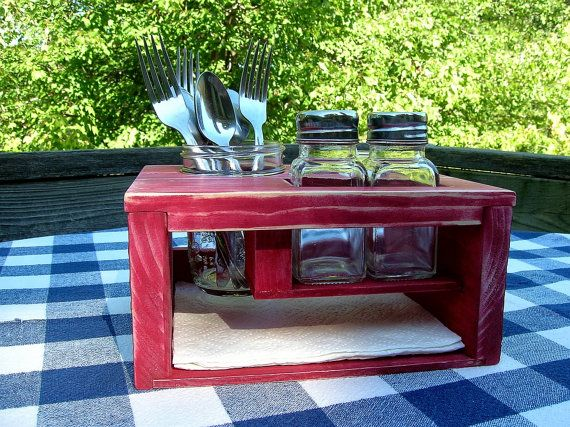 kitchen table picnic organizer caddy painted and by irishdayfair