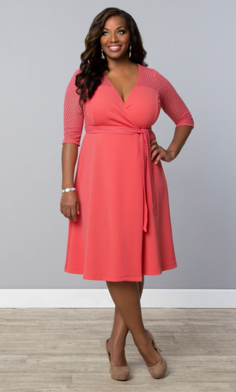 Plus size coral dress for wedding  Honeycomb Wrap Dress Carousel Coral Womens Plus Size From The