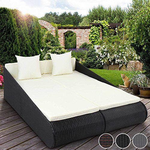 miadomodo poly rattan sun lounger indoor outdoor garden sofa day bed patio furniture - Garden Furniture Loungers