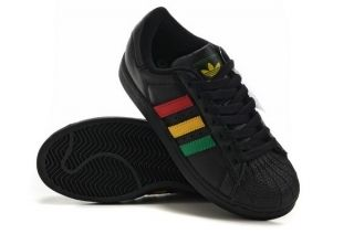 mens adidas superstar athletic shoe blackrasta from The
