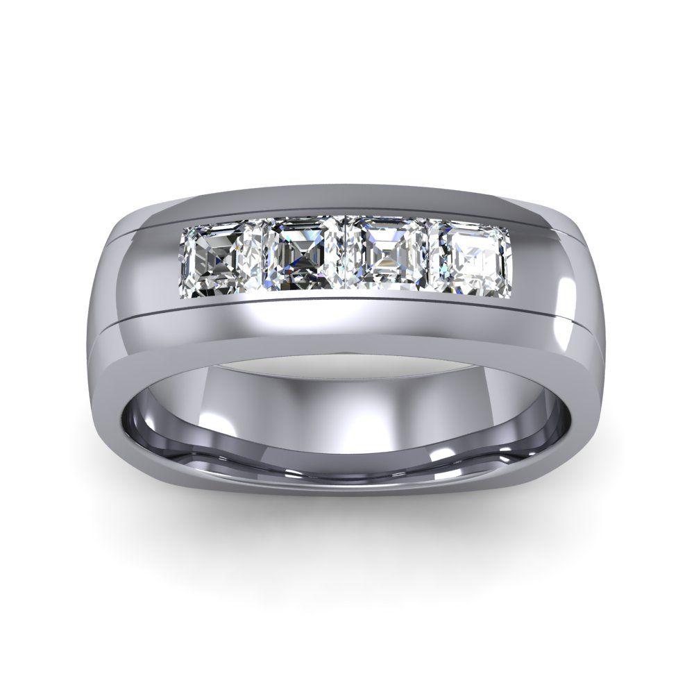 80ct asscher channel natural diamond mens anniversary