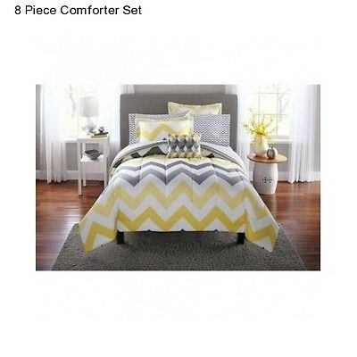 Details about New Yellow Grey Full Size Comforter Set Bedding Bedspread With Sheets Gray NWT #graybedroomwithpopofcolor
