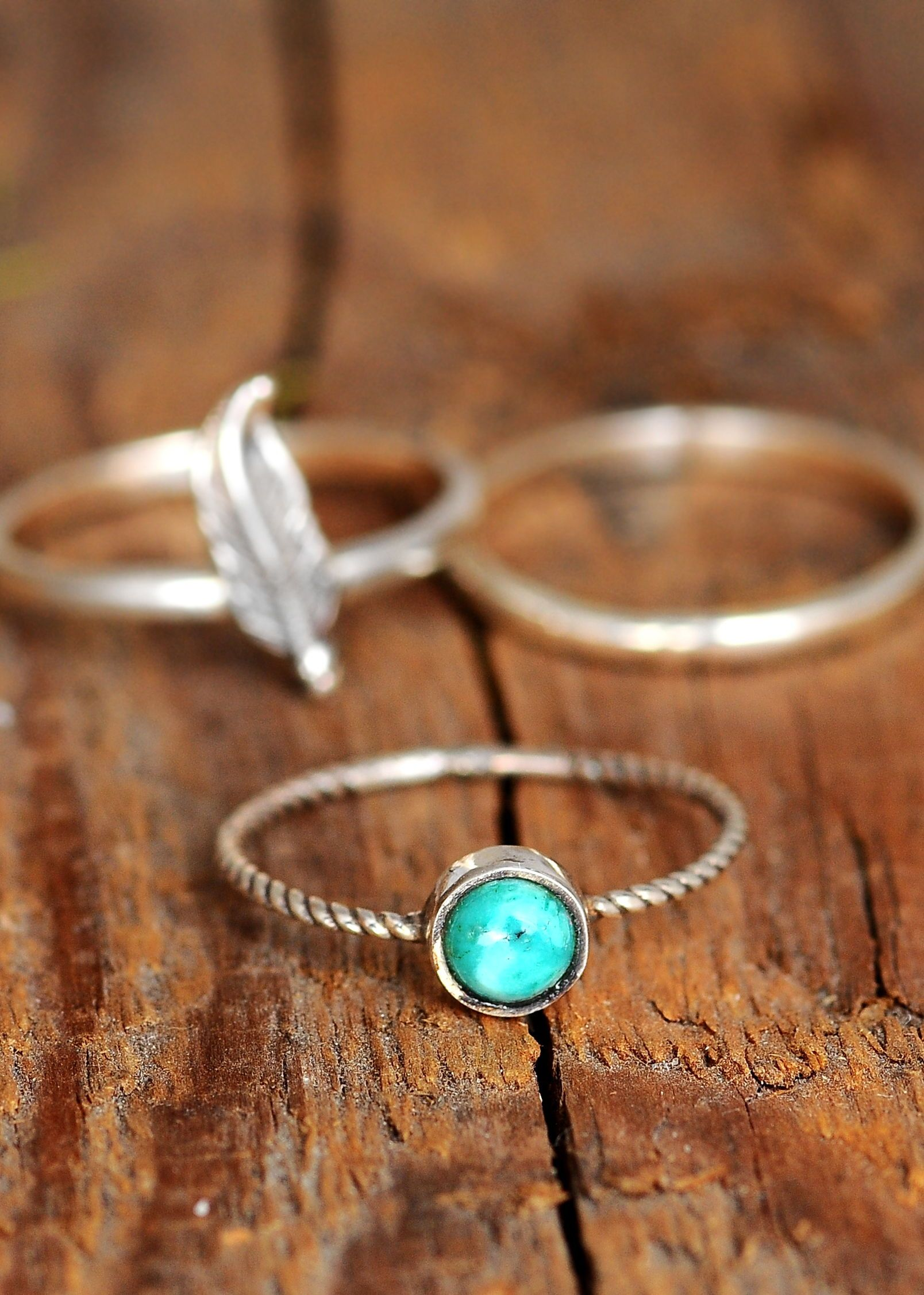 small turquoise ring silver and blue stone ring silver and turquoise ring stacking ring set silver stacking rings Turquoise ring