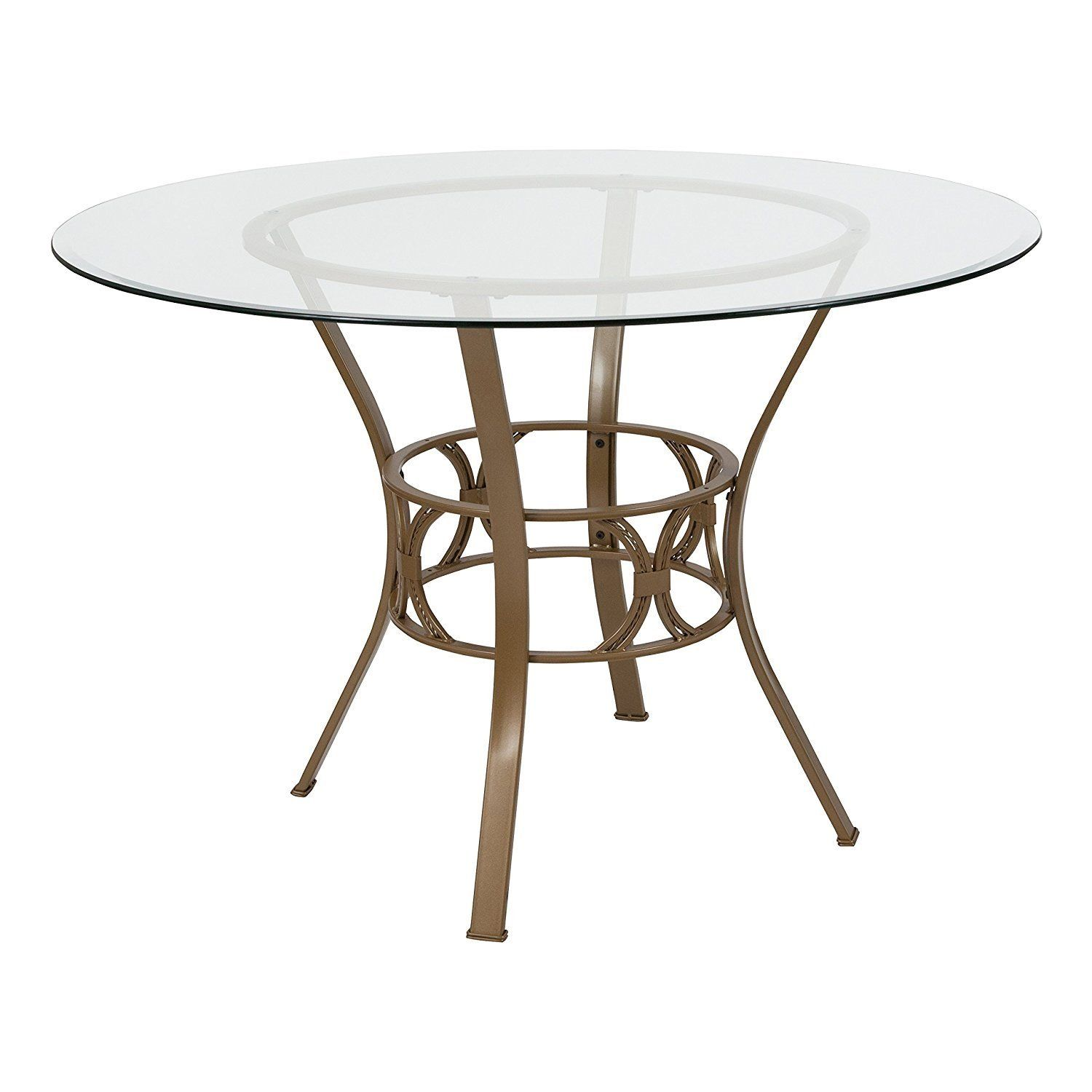 Round 45 Inch Clear Glass Top Dining Table With Matte Gold Metal