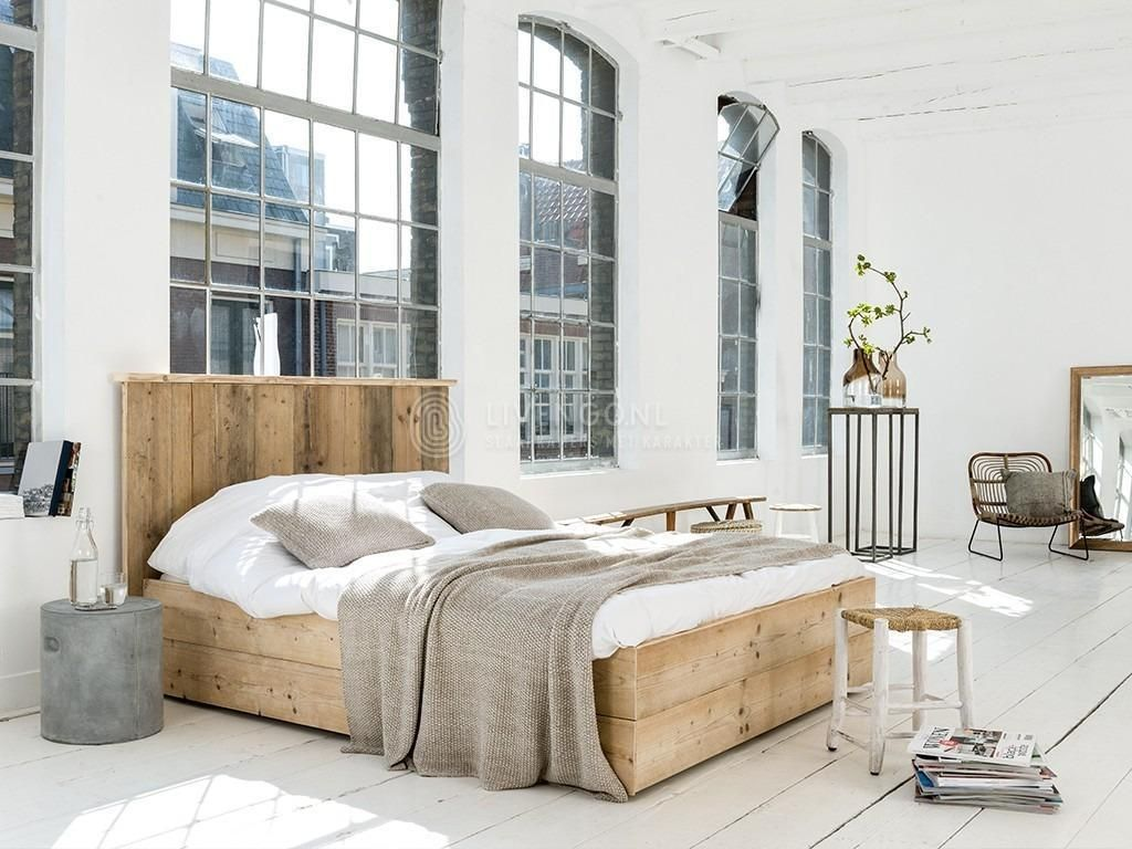 ≥ Steigerhout bed GOEDKOOP twijfelaar tweepersoons BUDGET bed ...