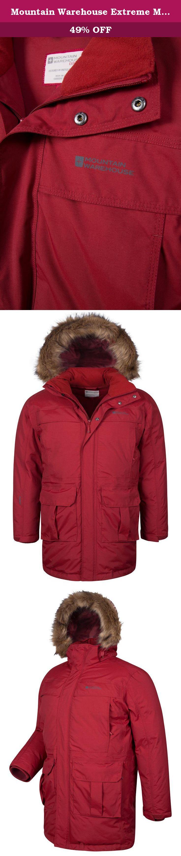 fe3a032cb Mountain Warehouse Extreme Mens Down Jacket + Fur Trim Hood Burgundy ...