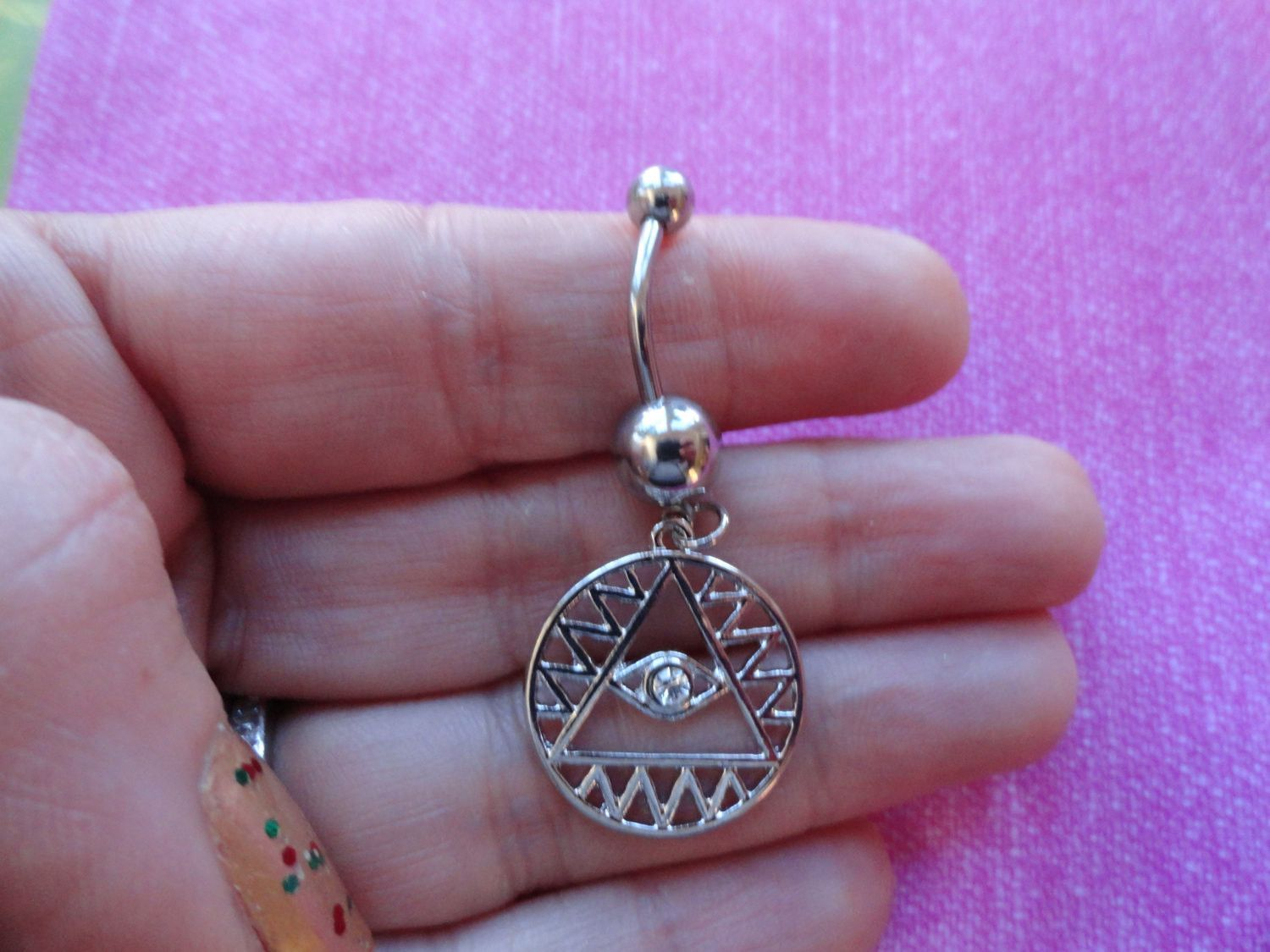 Evil eye crystal triangle belly navel ring funky navel ring has