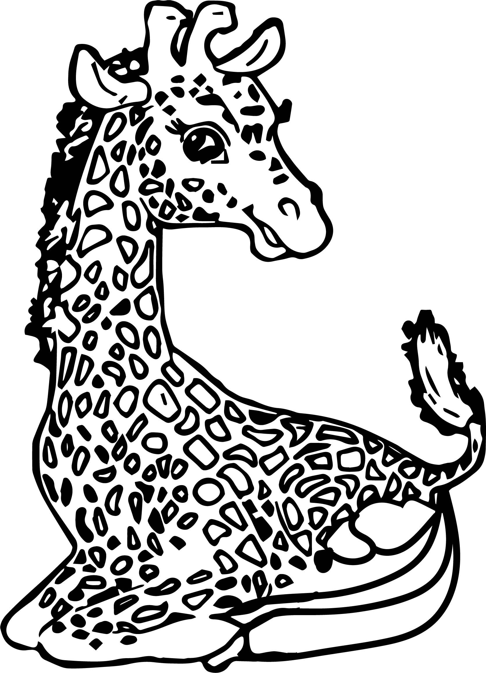 Awesome Giraffe Suprise Coloring Page