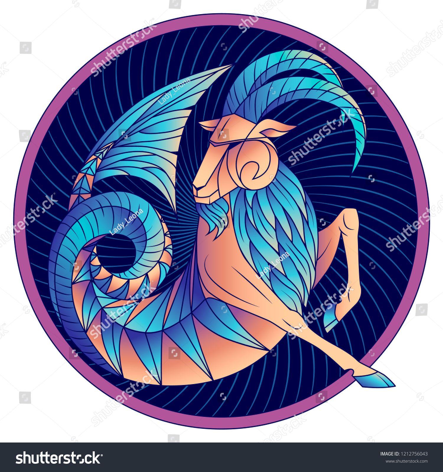 Capricorn zodiac sign, astrological, horoscope symbol. Futuristic ...