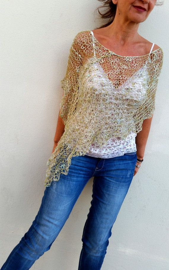 Summer knit poncho, dress cover up, women knit poncho ...