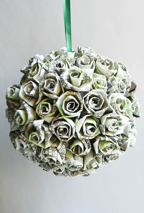 Money Small Roses Ball Origami Dollar Kusudamatutorial Diy Folded No