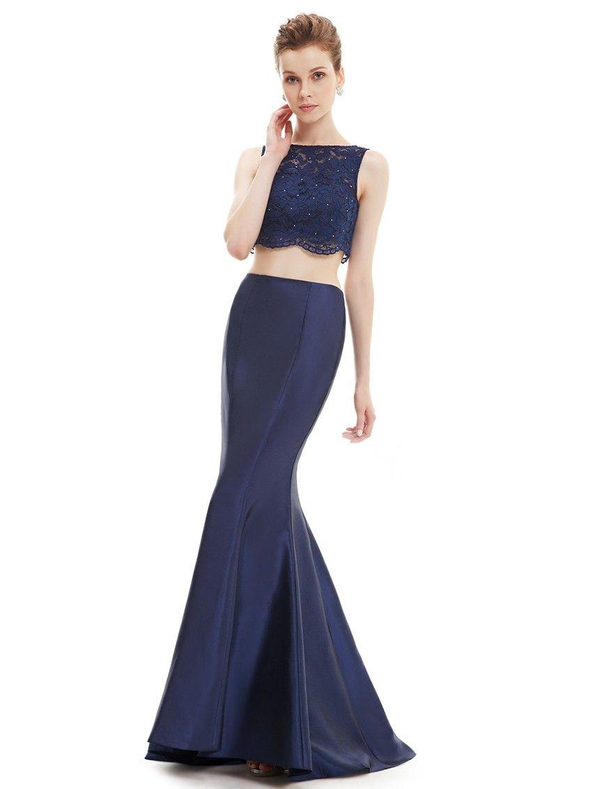 0d2fcf91bb8 Blaues Zweiteiliges Meerjungfrau Abendkleid 2019