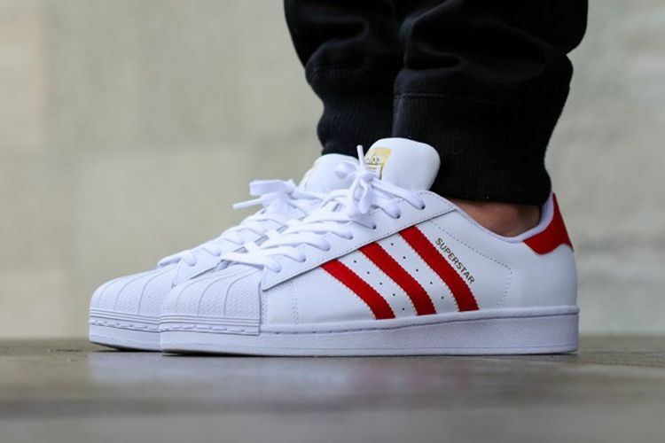 The adidas Superstar is beginning to release in a brand new Foundation  series that includes this adidas Superstar Foundation Scarlet Red colorway.