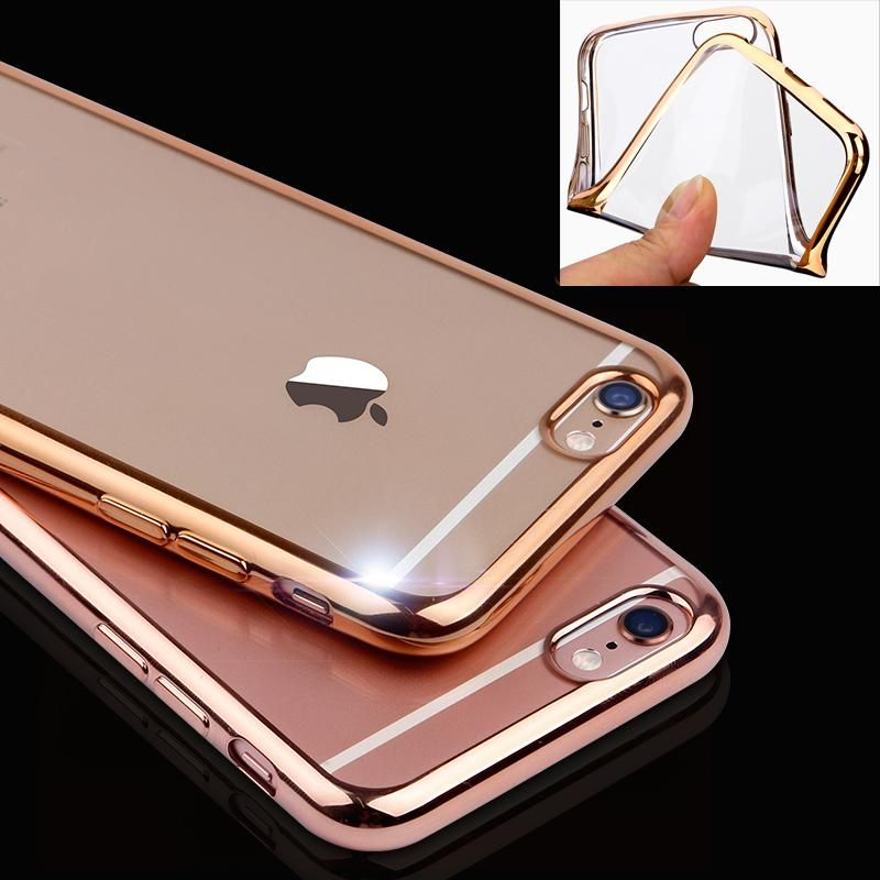 Ultra Thin Rose Gold Plating Crystal Clear Case For Iphone 6 Inch Plus Transparent Tpu Soft Phone Bag Covers IPhone Web Shop