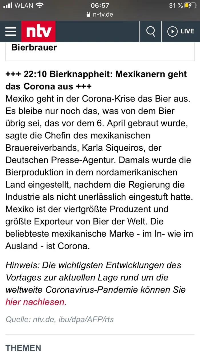 Jetzt geht in anderen Ländern schon das Corona aus.... in ...