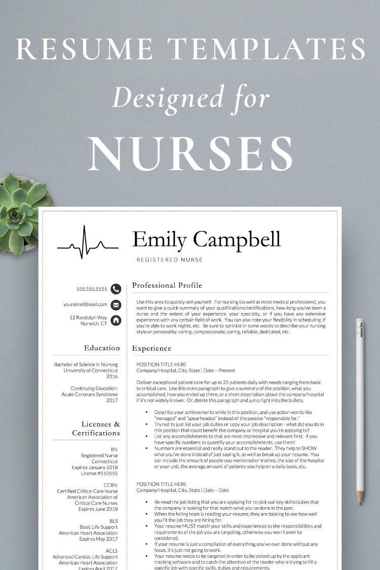 Nurse Resume Templates Nursing resume template, Nursing