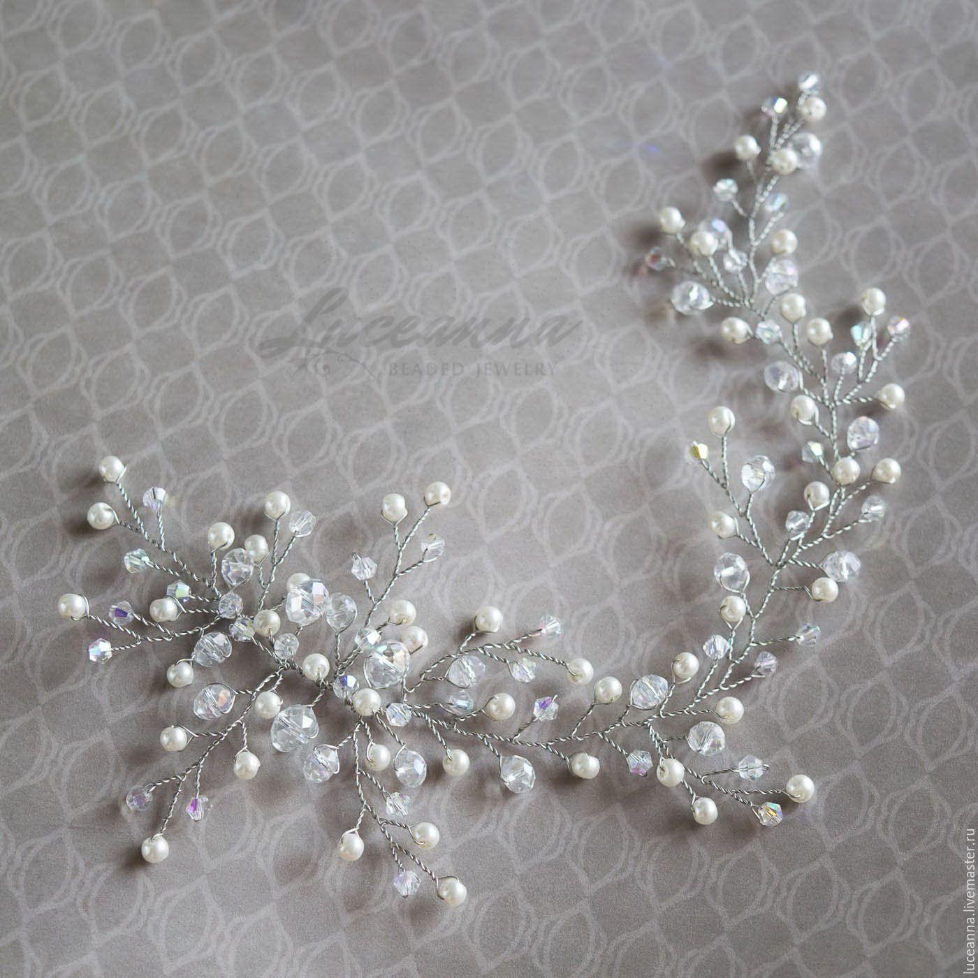 bba2e9209521 Купить Свадебное украшение для прически невесты жемчужно-кристальное ...