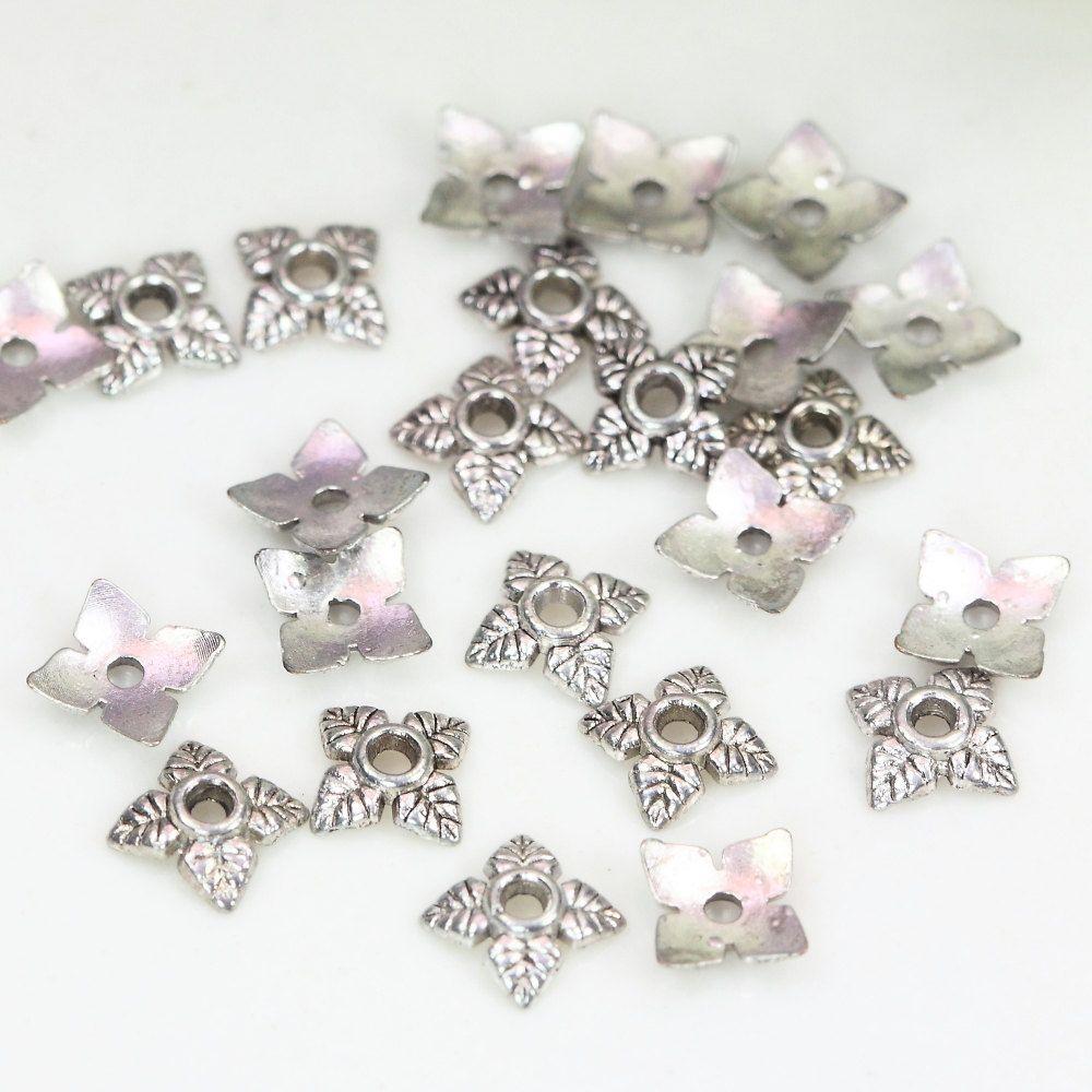 6mm Antique Silver Bead Caps, Small Flower Bead Caps, Tibetan Bead Caps, Bead…
