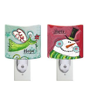 Another great find on #zulily! 'Hope' Angel Glass Night-Light Set by Evergreen #zulilyfinds