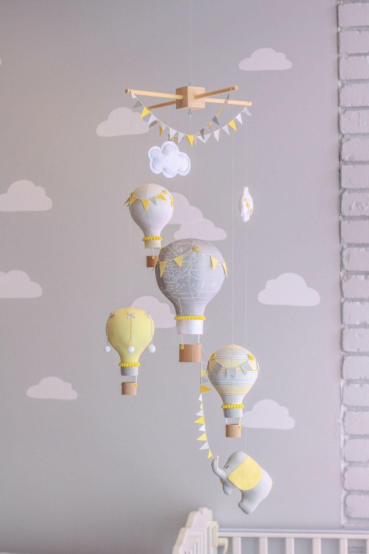 baby nursery yellow grey gender neutral. Yellow And Grey Gender Neutral Nursery Mobile, Hot Air Balloon Baby Elephant Travel Theme, Circus Decor, I80 By Sunshineandvodka On Etsy W