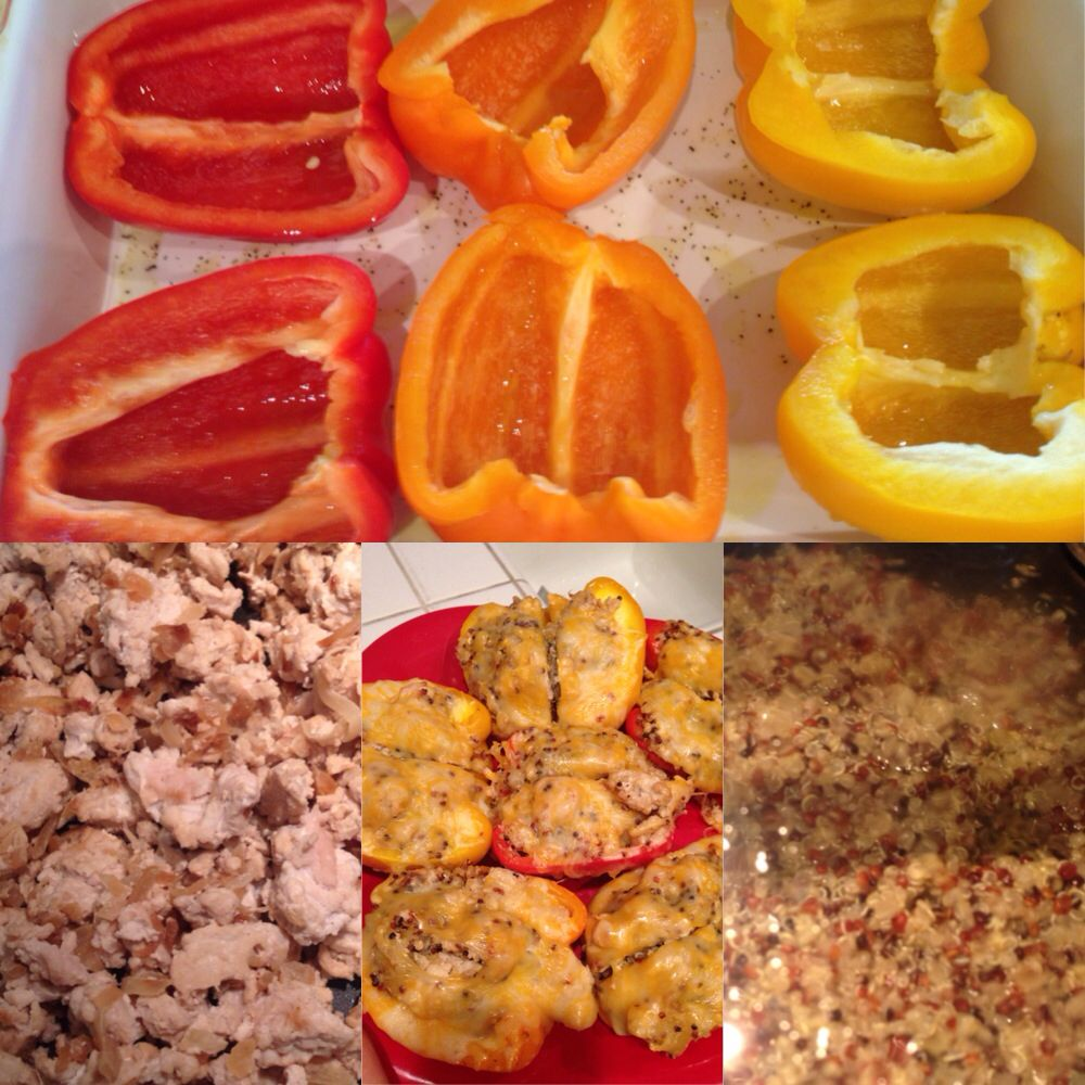 Stuffed bell peppers. Healthy and easy. Ingredients:  ground turkey, onions, quinoa, cheese and bell peppers. Season meat to liking. Sauté the onions first, add the turkey, let it cool down. Boil quinoa on the side. Mix all together and then stuff: cook in the oven for about 45 minutes and put the cheese on top the last few minutes. Enjoy! Made with love.