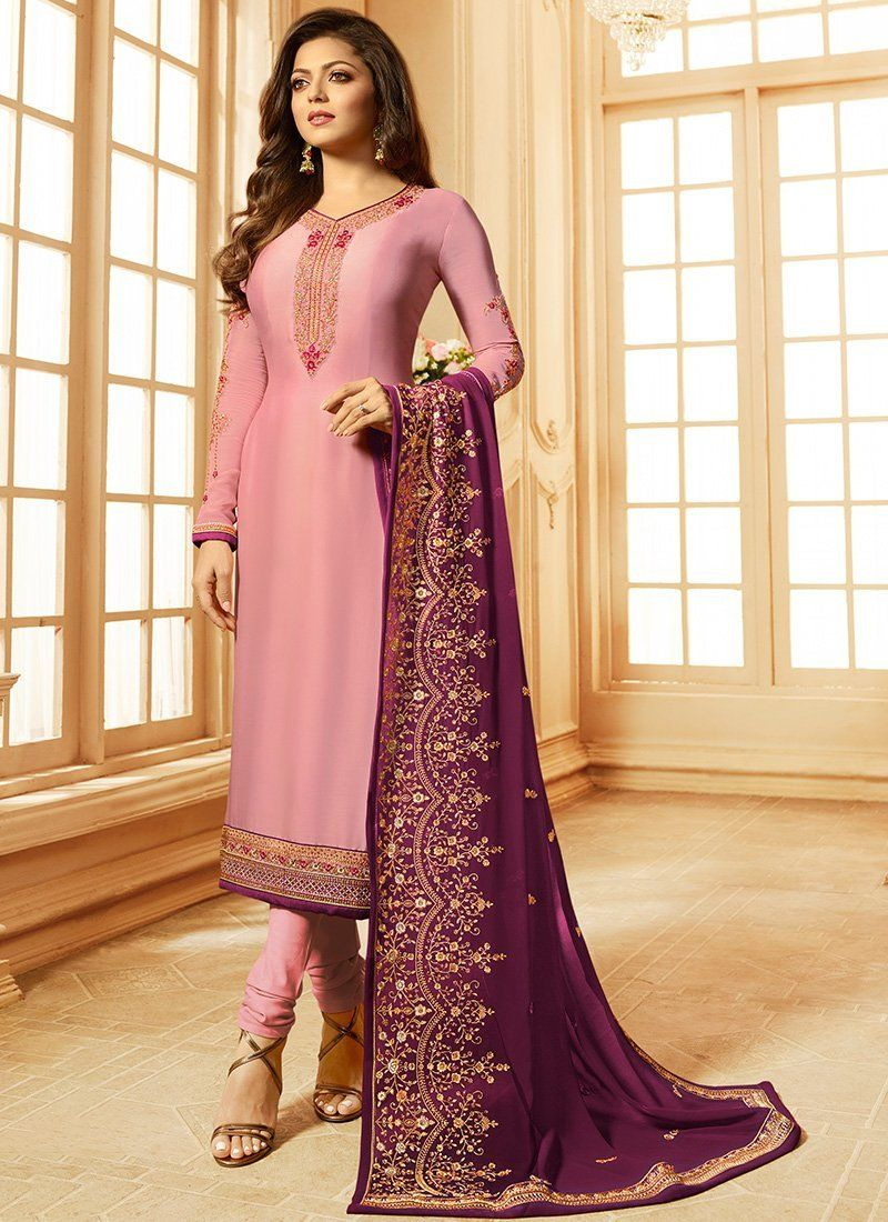 07e56287ad Shop for Lilac Madhubala Georgette Satin Chudidar Salwar Suit. Only 100%  Original Product with High-Quality Fabric Material. NO REPLICA, Discounted  Price.