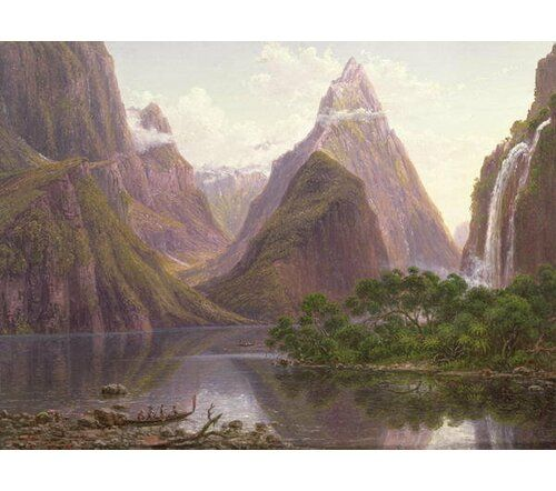 """Photo of East Urban Home Poster """"Native Figures in a Canoe at Milford Sound, West Coast of South Island, New Zealand, Also Depicted are Mitre Peak and Bowens Fall, 1892″ von Eugen Von Guerard, Kunstdruck 