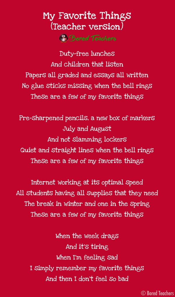 These Are A Few Of My Favorite Thing Sung By Teacher Bored Tool Essays Essay 10 Line In English For Clas 7 Hindi