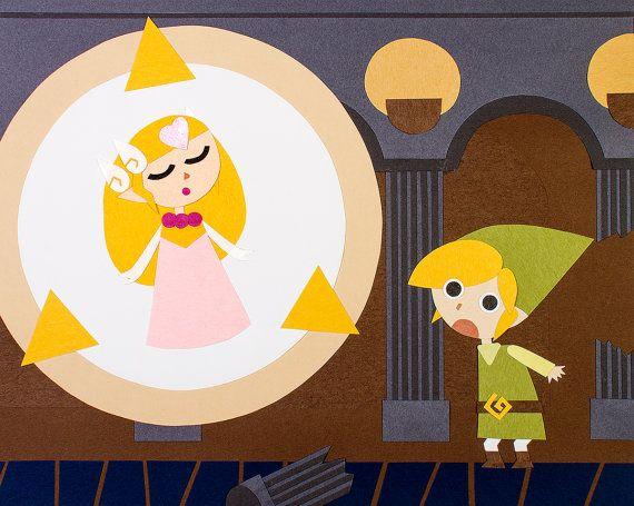 The Legend of Zelda Phantom Hourglass Papercut Scene of Zelda's Transformation with Link