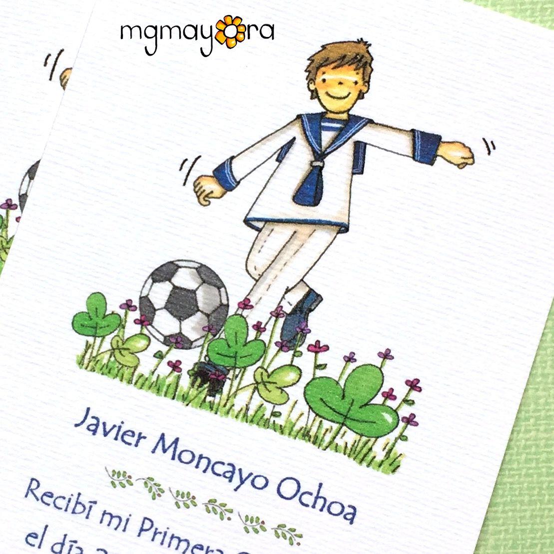 Recordatorios De Comunion Personalizados Para Nino Con Balon De Futbol Invitaciones Comunion Nino Comunion Comunion Nino