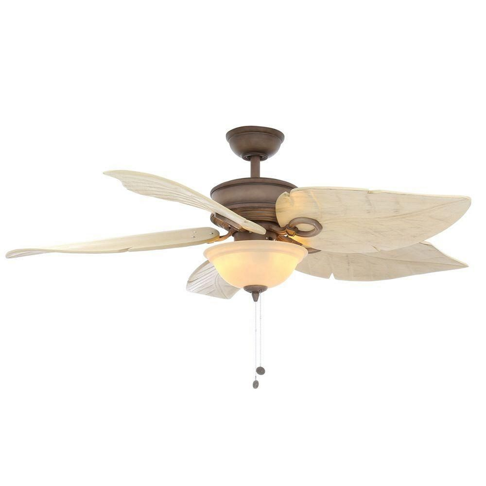 Costa Mesa 56 In Indoor Outdoor Weathered Zinc Palm Leaf Tropical Ceiling Fan