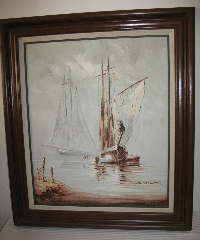 B Wilder Oil On Canvas Painting Seascape Sailboat Ship Nautical Framed Art Realism Nautical Framed Art Art Canvas Painting