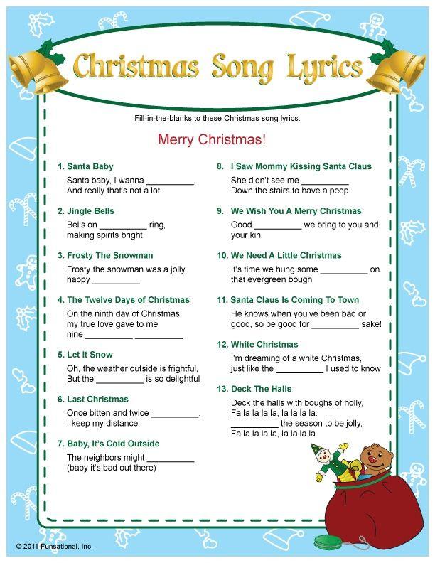 Christmas Song Lyrics Game Christmas Pinterest Christmas