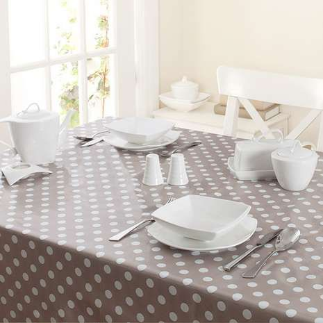Taupe Dotty Pvc Tablecloth  Dunelm  Caravan Renovation Ideas Magnificent Tablecloth For Dining Room Table Decorating Design