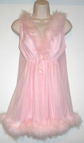 b52e8490cf VTG Figurettes Sissy Pink Nylon Marabou Baby Doll Nightgown Panty SET Large