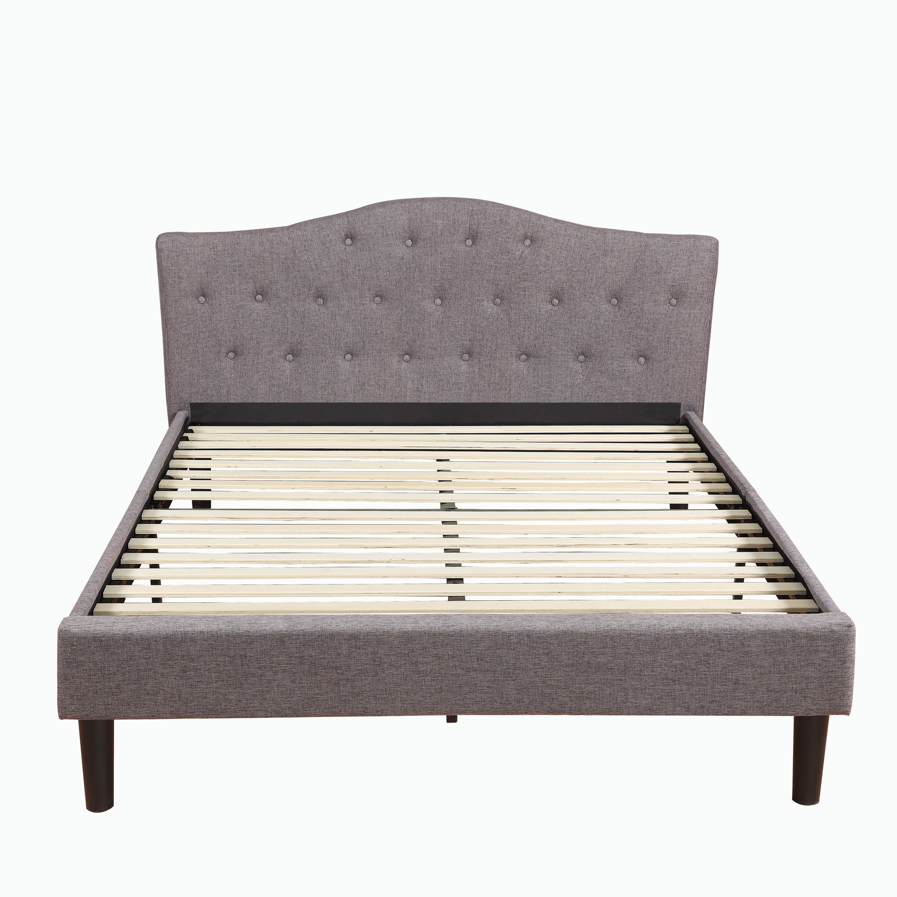 Classic Deluxe Linen Fabric Platform Bed With Wooden Slats In Grey
