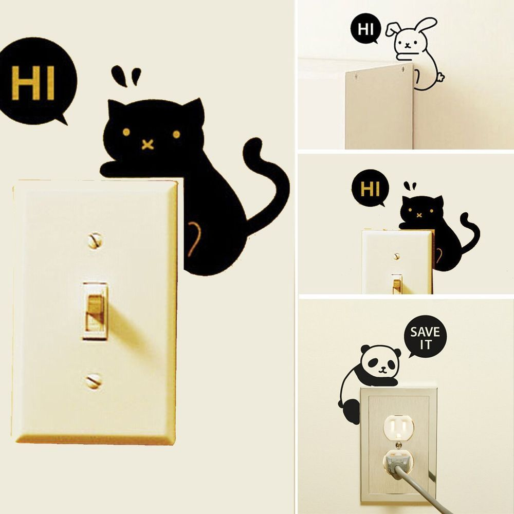 Removable Creative Home Light Switch Funny Wall Decal