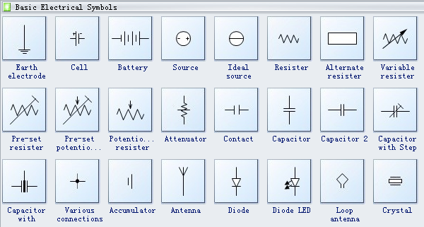basic electrical diagram symbols schematic symbols pinterest rh pinterest com Simple Electrical Diagram electrical drawing icons
