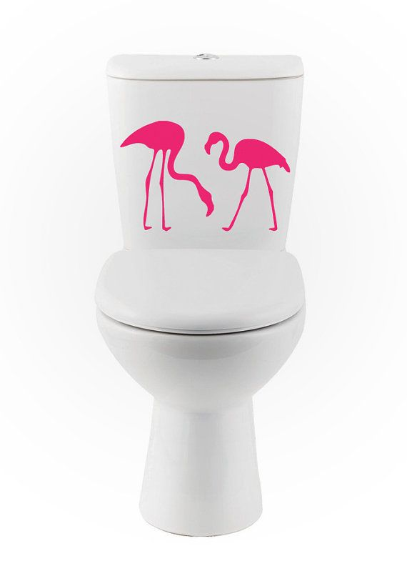 Flamingo wall DECALs bird Home Decor toilet Vinyl by EyvalDecal, $20.00
